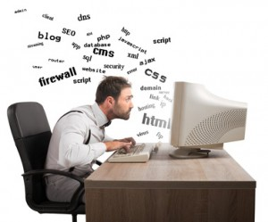 Businessman at work tries to understand internet terms