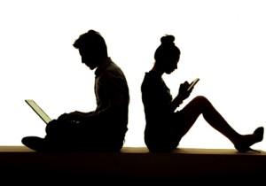Young smart couple growing away